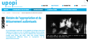"""Capture d'écran """"Histoire de l'appropriation et du détournement audiovisuels"""", UPoPi."""