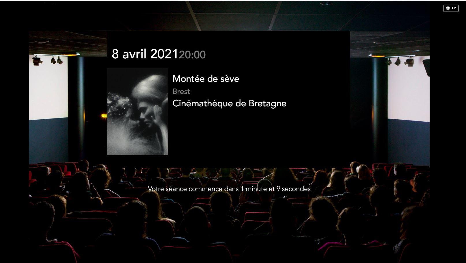 Capture d'écran d'attente d'une séance de la Cinémathèque de Bretagne sur la plateforme la 25e heure